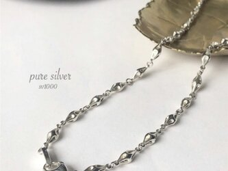 送料無料✴︎限定♡デザインひし形チェーン46cm  金属アレルギーの方も 純銀  purecubicの画像