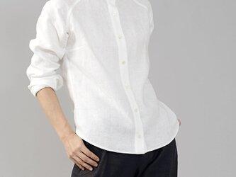 【wafu】※上半身貧相党、いさわサイズ 中厚リネン100%スタンドカラーシャツ 長袖/ホワイト t034c-wht2の画像
