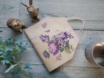 送料無料✴紫のお花と英字が大人可愛いマスクケースです✴の画像