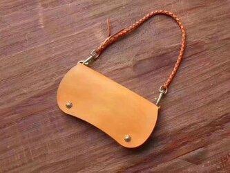 【えん豆】牛革手作り手縫い収納オルガン長財布ショルダー、肩掛けの2Wayの画像