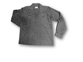 5 大島紬リメイク メンズ長袖シャツ(こげ茶色・M)の画像