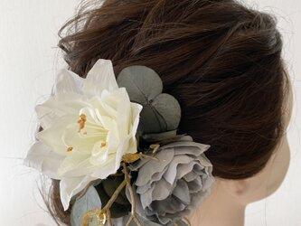 アンティークローズとジュエルの髪飾り【造花】ウェディング・成人式にの画像