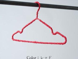 【wafu/レッド】 リネンまきまきハンガー リネンハンガー 45度バイヤスで巻くスチールハンガー/z000z-red2の画像
