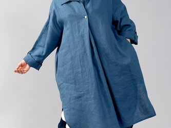 【wafu】中厚 リネンワンピース シャツ 襟 オフセット 重ね着風 ロールアップ/ブルーパッセ a085a-bps2の画像