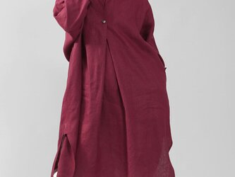 【wafu】中厚 リネンワンピース シャツ 襟 オフセット 重ね着風 ロールアップ/シュールージュ a085a-srg2の画像