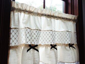 秋の格子刺繍♪ナチュラルロマンカフェカーテン 100cm×46cmの画像
