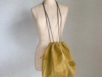 変わり縞のひょうたんバッグ 手織りの画像