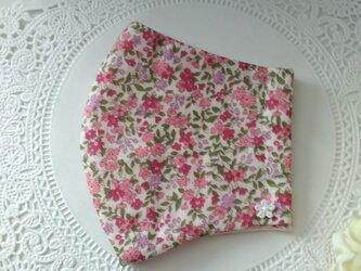 【受注制作】送料無料☆鮮やかなピンク小花ダブルガーゼ生地の立体マスクLサイズ☆の画像
