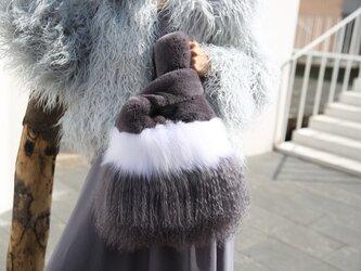 ¶ new antique fur ¶ ラパン/フォックス/ラムエコバッグ型ミックスファーバッグの画像