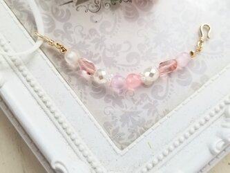 ピンクが可愛いチェコビーズのマスクフックの画像