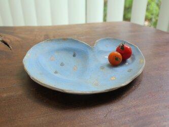 色化粧 ハートの取り皿 水色1の画像