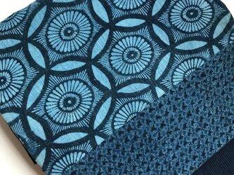 古布の藍返し型染めと鳴海紺型、めくら縞の剥ぎ名古屋帯 【送料無料】の画像