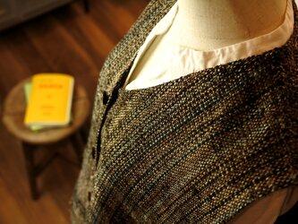 一点物の手織りシルク裂き織りベストの画像