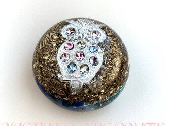縁起物キラキラフクロウ 希少オリハルコン入り 心の回復 幸運 癒し 幸運メモリーオイル入 キュート型 オルゴナイトの画像