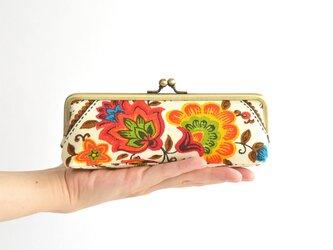 """レトロな花柄がまぐちペンケース(マチ付き) - Vintage """"Ethnic Flowers""""〔074〕の画像"""