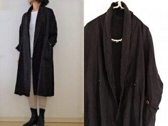 【受注制作】黒/くったりリネン ローブコート(ロング)の画像