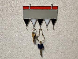 ステンドグラスの鍵掛けの画像