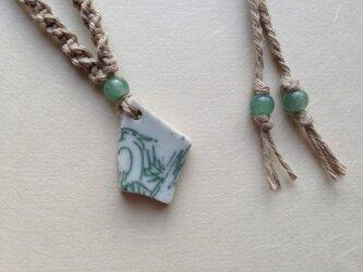 鎌倉の海の贈りもの「うみへん」陶片ペンダント(鷺)の画像
