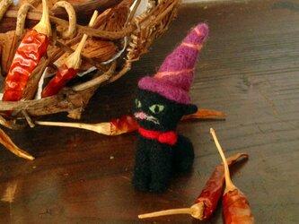 ハロウィンの黒猫 ミニチュアサイズの画像