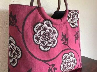 花唐草模様の袋帯の手提げ 丸い木の手の画像