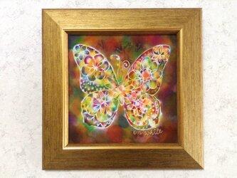 シルク染色画✼花蝶 ブラウン系の画像