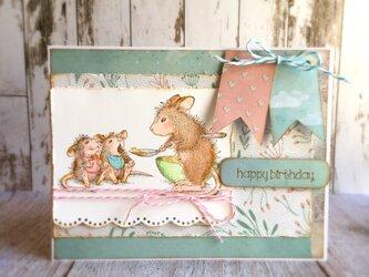 双子の赤ちゃんマウス♪バースデイカードの画像