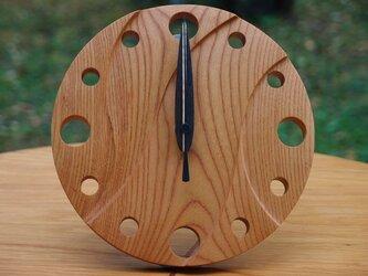 無垢の木の電波置き掛け時計 ケヤキ 0001の画像