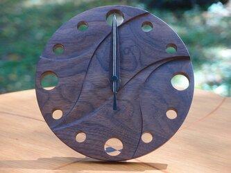 無垢の木の電波置き掛け時計 ブラックウォールナット 0001の画像