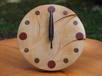 無垢の木の電波置き掛け時計 トチ 0001の画像