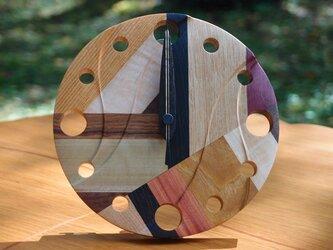 無垢の木の電波置き掛け時計 モザイク 0002の画像