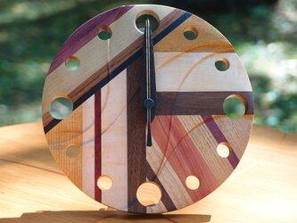 無垢の木の電波置き掛け時計 モザイク 0004の画像
