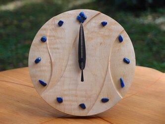 無垢の木の電波置き掛け時計 カエデ ラピスラズリ 0001の画像