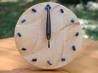 無垢の木の電波置き掛け時計 カエデ ラピスラズリ 0002の画像
