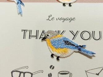刺繍ワッペン 青い鳥 アイロン接着の画像