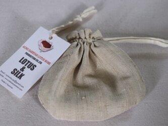 蓮糸とシルクで織った巾着袋の画像
