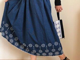 刺繍 裾レース 裏地付きギャザースカートの画像