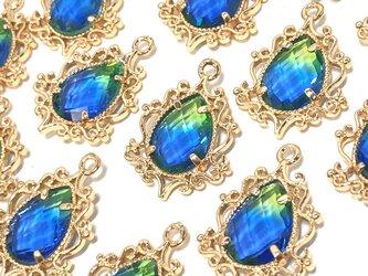 しずくガラス豪華枠チャーム ブルーグリーン 4個【雫パーツ ハンドメイド素材】の画像