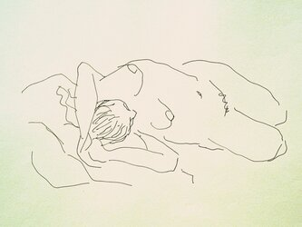 ペンによる裸婦素描(額無し)の画像