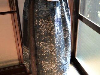 木綿 藍色 型染etc.古布からギャザースカート J-41の画像