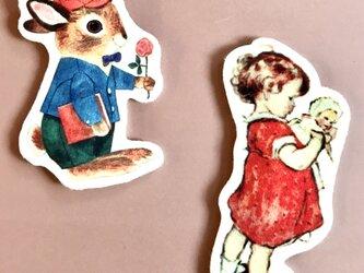 フェルトワッペン3点セット 赤い服の女の子 プロポーズのラビット ワッペン・アップリケ・フェルト・レトロ・モチーフの画像