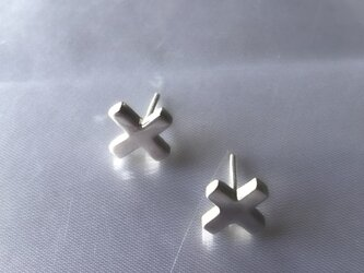 "Silver Cross Earrings ""Chibi-peke""の画像"