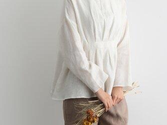 おしゃれ印象になる大人のリネンブラウス フレアブラウス 長袖 三色 200902-1の画像