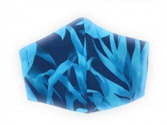 ハワイアン ファッション マスク(3D扇型・蒸れにくい・ファンデーション対策対応) トロピカル ラウアエ柄 ネイビー Mサイズの画像