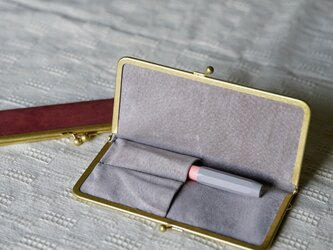 真鍮使いの口金ペンケース(2本用)/ピンク×グレーの画像