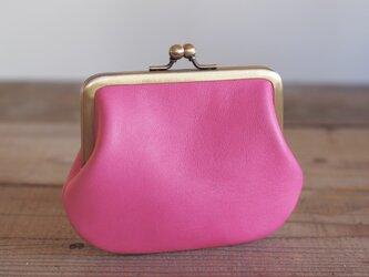 角型レザーがま口 ピンクの画像
