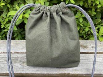 帆布ポシェット 巾着タイプ オリーブの画像