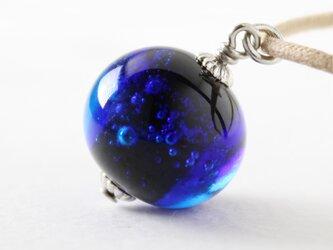 ガラスネックレス【藍】縞の小石 S89の画像