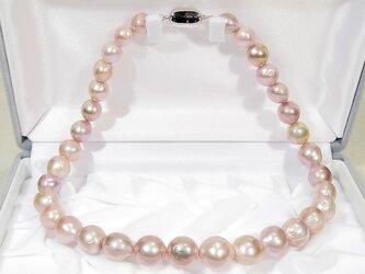 11.5-9.0mm本真珠(淡水)とSV925のグラデーション・ネックレス(ナチュラルカラー、美しい照り、ロジウム)の画像