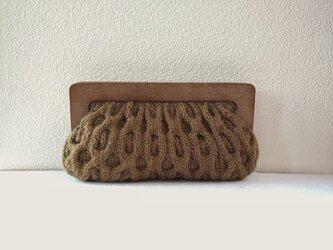 木製がまぐち アランニットバッグ *kurumi・オリーブブラウン*の画像