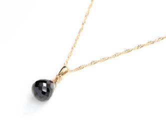 8月誕生石K18 漆黒のブラックスピネル(オニオンカット)ネックレスチャーム~BOURGEON~(チェーンのセット購入できます)の画像